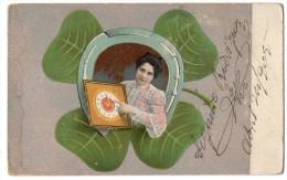 New Year Wishes Art Nouveau Clover Vintage Original Postcard Cpa Ak (W3_2482) - Año Nuevo