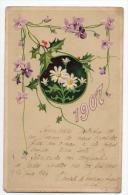 1907 New Year Wishes Flowers  Vintage Original Postcard Cpa Ak (W3_2490) - Año Nuevo
