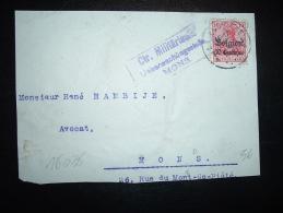 DEVANT DE LETTRE TP GERMANIA 10C + Belgien 10 Centimes OBL.  LA LOUVIERE + CACHET MILITAIRE DE MONS - Guerre 14-18