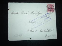 DEVANT DE LETTRE TP GERMANIA 10C + Belgien 10 Centimes OBL.  10 V ? ANDERLUES + CACHET MILITAIRE DE MONS - Guerre 14-18