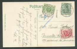 Allemagne 5 Pfg Germania Obl. Dc CÖLN Sur C.P. Du 30/09/1909 Vers Woluwé-Saint-Lambert Et Taxée à 15 Centimes.  Superbe - Briefe U. Dokumente