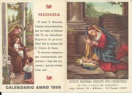 CAL104 - CALENDARIETTO 1958 - ISTITUTI PER L´ASSISTENZA AI FIGLI E FIGLIE DEI CARCERATI - Calendriers