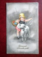 Easter Greeting Card - Girl And Lamb By Hannes Petersen - Eggs - 394 Circulated In Estonia 1931 , Kiisa - Germany - Used - Petersen, Hannes