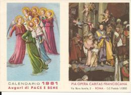 CAL120 - CALENDARIETTO 1961 - PIA OPERA CARITAS FRANCISCANA - Calendari