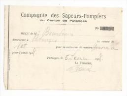 FACTURE De 1928...Compagnie Des Sapeurs Pompiers Du Canton De PUTANGES ( 61) - France