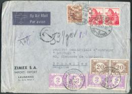 SUISSE  - Lettre Affranchie à 50 Centimes Par Avion De LAUSANNE Le 20-XI-1947 Vers Bruxelles Et Taxée à 8Fr.40. - 9382 - Portomarken