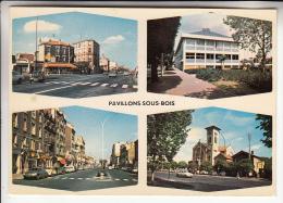 PAVILLONS SOUS BOIS 93  - Multivues Colorisée :  Autos DS 19 Commerces Carrefour ... CPSM GF N° 93.220 - Seine St Denis - France