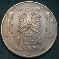 M_p> Regno Vitt Eman III° Colonia D´Albania 1 Lek 1939 XVIII Magnetico , Moneta NON COMUNE - Albanie