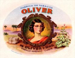 H20, THEME: WOMEN. 5 CUBAN CIGAR LABELS. ANTIQUES. NOT USED. NOT REPRODUCTIONS. - Etiquettes