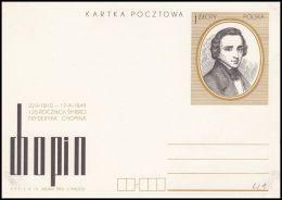 "Poland, 1974, Postal Stationery ""125th Anniversary Of Chopin's Death"", Cp 621 Mint - Interi Postali"