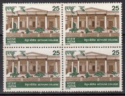 India 1978 MNH. Block Of 4, Bethune College, Education, As Scan - Blocks & Kleinbögen