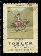 Old Original Swiss Poster Stamp Advertising Cinderella Label Tobler  - Animal Horse Cheval Pferd Polo Pony - Pferde