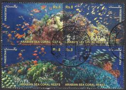 PAKISTAN - Arabian Sea Coral Reefs, Under Water Life, Complete Set Of 4 Stamps, Very Fine Used VFU - Pakistan