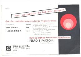 "BUVARD - Pharmacie - Médical -"" Pernaemon "" Laboratoires Organon à Bruxelles (f73) - Buvards, Protège-cahiers Illustrés"