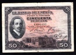 BILLETE DE 50 PESETAS DE 1927 - USADO (VER FOTO) - [ 1] …-1931 : Primeros Billetes (Banco De España)