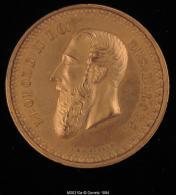 M00310 Festival D´Amay Entouré D´instruments (1880) Et Léopold II Au Revers, Bronze Doré (56 G.) - Royal / Of Nobility
