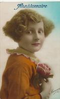 """ENFANTS - LITTLE GIRL - MAEDCHEN -  Jolie Carte Fantaisie Portrait Fillette Et Fleurs """"Anniversaire"""" - Portraits"""