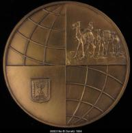 M00319 Israël, 36ème Congrès De Tel Aviv (1965) U.I.T.P. ; Chameau Et Menora Au Revers, Bronze Doré (98 G.) - Jetons & Médailles