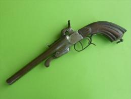 Gros Pistolet De Veinerie Double Canon Juxtaposé Basculant 14mm à Broche - Decorative Weapons