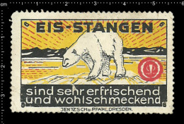 Old Original German Poster Stamp Advertising Cinderella Reklamemarke Eis - Stangen Polar Bear Eisbär - Ours