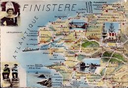 CP - 29 - Carte Géographique - Finistère - Landkarten