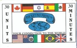 TARJETA DE ESTADOS UNIDOS DE POCKET PAY PHONE CON BANDERAS: ISRAEL-ESPAÑA-ALEMANIA-BRASIL, ETC - Estados Unidos
