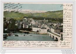 CPA - JURANCON - Le Pont du 14 Juillet, La ville et en fond les Pyr�n�es - Divis� - circul� -