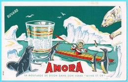 BUVARD BUVARDS Algerie Algeria France Publicité Pub AMORA Moutarde Dijon Verre Givre Or Mustard Frost Glass Gold - Alimentos