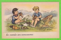 """J. IDRAC - La Corvée Des Chaussures (Mention """"par Autorisation Spéciale Du Q.G. Scout"""" Au Verso) - Illustratoren & Fotografen"""