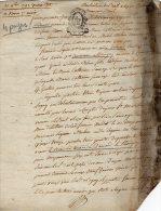 VP65- DAMPMART X THORIGNY 1793 - Acte Bail - Seals Of Generality