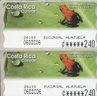 G)2005 COSTA RICA, PAIR OF VENEZUELAN RED FROG, ADHESIVE, MNH - Costa Rica