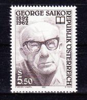 AUSTRIA   1992 ,  George Saiko - Writter  100 Years Birth    , Y&T  #  1880,  Cv   1.40  E , **  M N H , V V F - 1945-.... 2a Repubblica