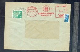 Enveloppe  Allemagne 1950 Hamburg Affranchissement Ema HANNING HARBECK + Timbre Berlin - [6] Repubblica Democratica