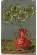 Pot With  Clover Carte Postale 1906 New Year Celebration Vintage Original Postcard Cpa Ak (W3_2507) - Año Nuevo