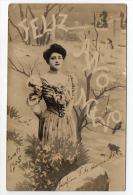 New Year Real Photo Woman Vintage Original Postcard Cpa Ak (W3_2534) - Año Nuevo