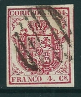Spain 1854 Edifil 33 Used Parrilla Negra - Used Stamps