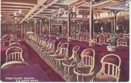 'S.S. Chiyo Maru' First Class Saloon Room Interior View, C1910s Vintage Postcard - Piroscafi