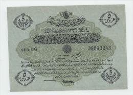 OTTOMAN TURKEY 5 PIASTRES 1332 UNC NEUF P 96 - Turquie