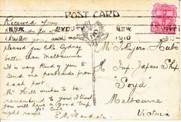 AUSTRALIA  POSTAL HISTORY  CARD  JAPANESE NAVY  1910 - Briefe U. Dokumente