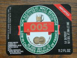 .005 Non Alcoholic Malt Beverage Product Of France 11.2 Fl.oz ( 90 X 70 Mm. / Details Op Foto ) !! - Bière