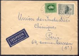 Lettre     Pour PARIS    AFFRANCHIE  Avec 2 Timbres     PAR AVION - Brieven En Documenten