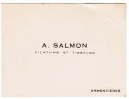 A. SALMON FILATURE ET TISSAGES ARMENTIERES - Cartes De Visite