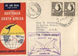 (172) Australia QANTAS Airways FDC- Australia To South Africa + Special Postmark (see Front And Back) 1952 - Australia