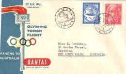 (172) Australia QANTAS Airways FDC- Olympic Torch Athens To Australia  (see Front And Back) 1956 - Australia