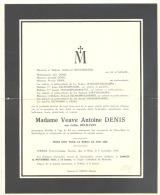 Faire-part De Décès De Céline DECHAMPS Vve D'Antoine Denis Chôdes/Malmedy 1955 (sf84) - Décès