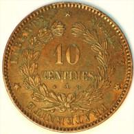10 CENTIMES BRONZE CERES 1870 A PARIS TTB+ - France
