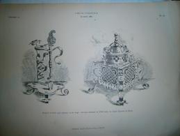 PLANCHE L ART ET L INDUSTRIE    BOUGEOIR ET BOITE POUR FUMEURS EN FER FORGE     ANNEE 1886 - Other Plans