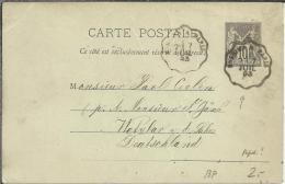 FRANCIA 1893 ENTERO POSTAL A ALEMANIA MAT PARIS - Entiers Postaux