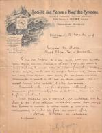 """ARIEGE - OUST - SOCIETE DES PIERRES A FAUX DES PYRENEES - MARQUE """" OURS """" - LETTRE - 1909 - France"""