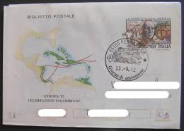 FDC Viaggiata SCOPERTA AMERICA COLOMBO Celebrazioni Colombiane Intero Postale Annullo Primo Giorno Emissione ITALIA 1992 - 6. 1946-.. Repubblica